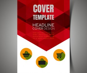 Shopping flyer with brochure cover template vector 09