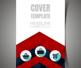 Shopping flyer with brochure cover template vector 10