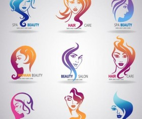Skin and hatr care logos design vector
