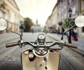 Small motorbike close-up on the street Stock Photo
