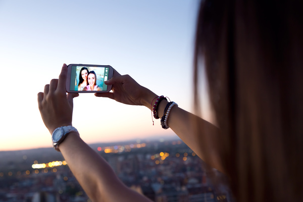 Smart phone video call Stock Photo