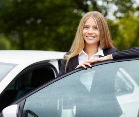 Smiling girl and car Stock Photo 01