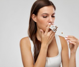 Smoking woman Stock Photo