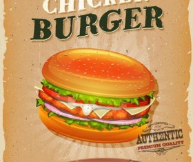 Snack poster chicken burger vector