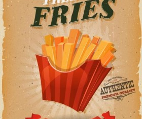 Snack poster french fries retro vector