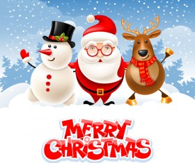 Snowman with santa and deer christmas vector 01