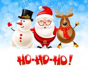 Snowman with santa and deer christmas vector 02