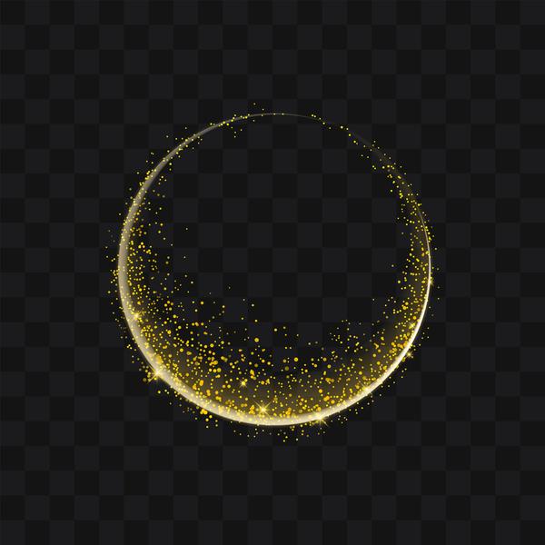 Sparkling golden particles round illustration vector