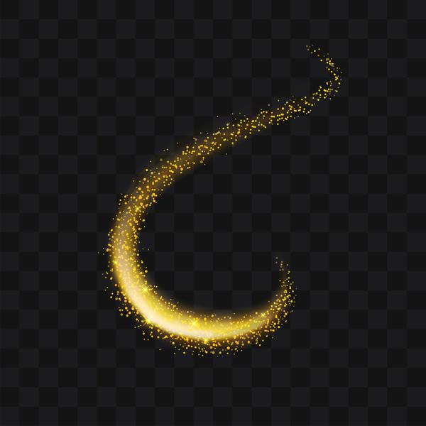 Sparkling golden particles wavy illustration vector 03