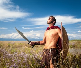 Spartan warrior shouting loudly Stock Photo