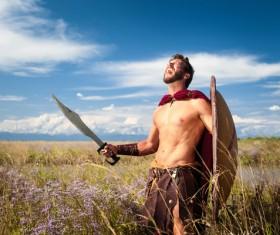Spartan warrior shouting loudly Stock Photo