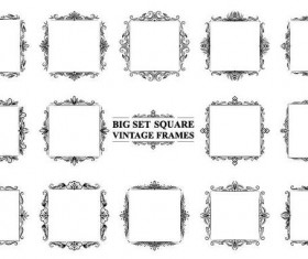 Square vintage frames vector set