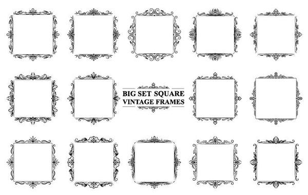 Square vintage frames vector set free download