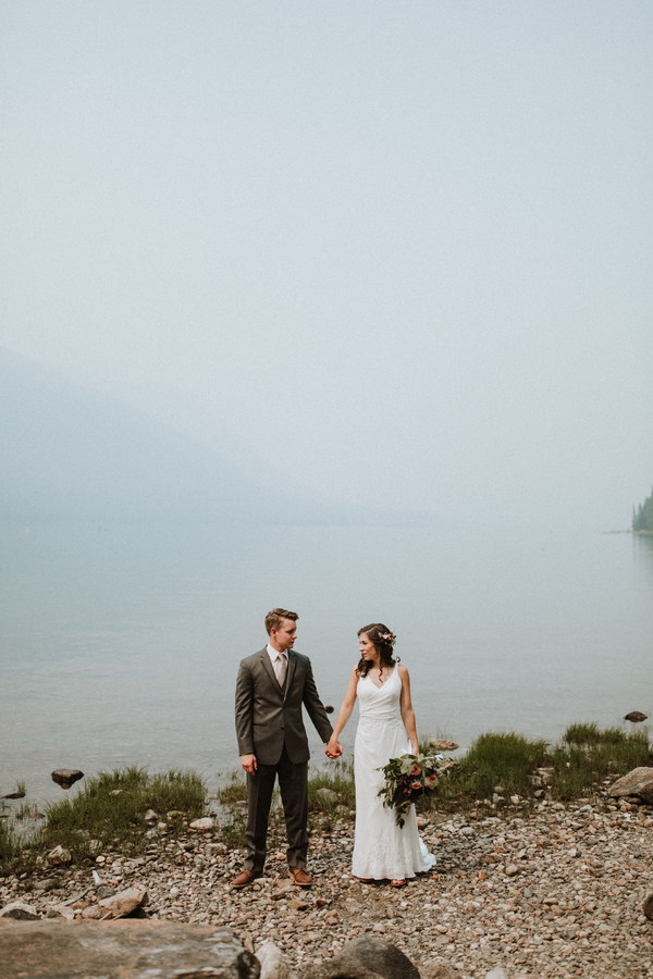 Stand by the lake shooting wedding photos Stock Photo