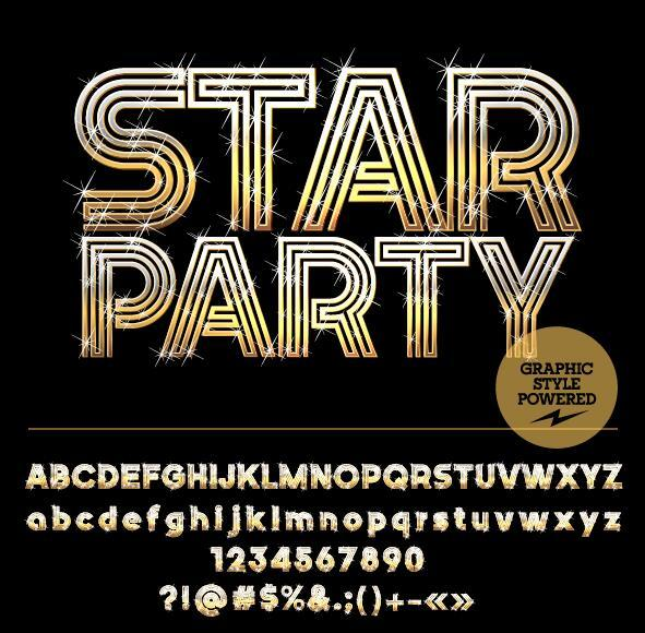 Star party golden alphabet and number vector