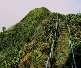 Steel staircase on natural mountain Stock Photo