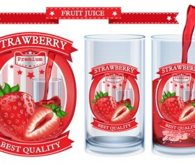Strawberry juice labels design vector 01