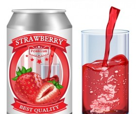 Strawberry juice labels design vector 02