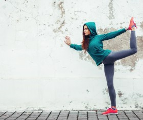 Street workout girl Stock Photo