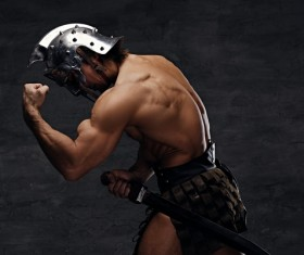 Strong Spartan warrior Stock Photo 02