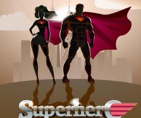 Superman and woman design vector 01