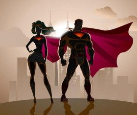 Superman and woman design vector 02