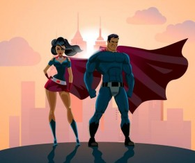 Superman and woman design vector 03