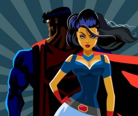 Superman and woman design vector 04