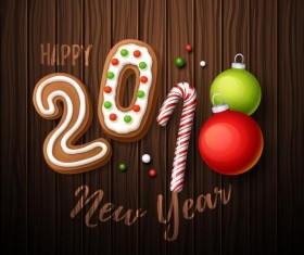 Sweet with 2018 new year background design vector