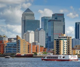 Tall buildings by the river Thames Stock Photo