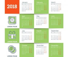 Tender green 2018 calendar template vector