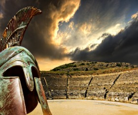 The ancient Rome arena in the helmet Stock Photo