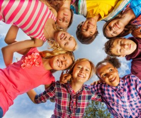 The children around in a circle Stock Photo 01