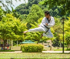 The man who practices Taekwondo Stock Photo