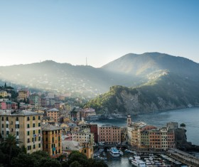 Tourist paradise seaside town Camogli Stock Photo 01