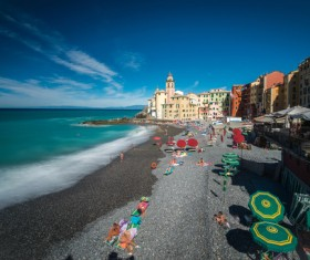 Tourist paradise seaside town Camogli Stock Photo 02