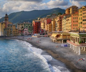 Tourist paradise seaside town Camogli Stock Photo 03