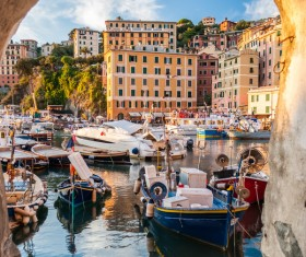 Tourist paradise seaside town Camogli Stock Photo 04