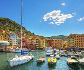Tourist paradise seaside town Camogli Stock Photo 06