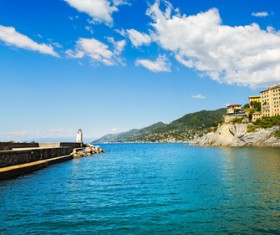 Tourist paradise seaside town Camogli Stock Photo 07