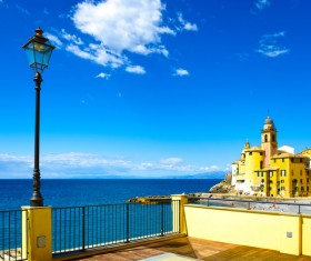 Tourist paradise seaside town Camogli Stock Photo 08
