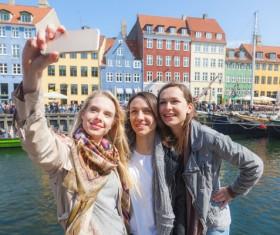 Travel selfie girl Stock Photo