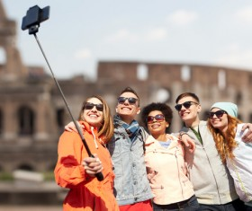 Traveling People using smartphone selfie Stock Photo 01