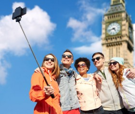 Traveling People using smartphone selfie Stock Photo 02