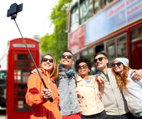 Traveling People using smartphone selfie Stock Photo 03