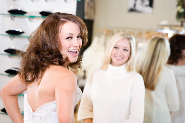 Try on bridal wedding dress Stock Photo 01