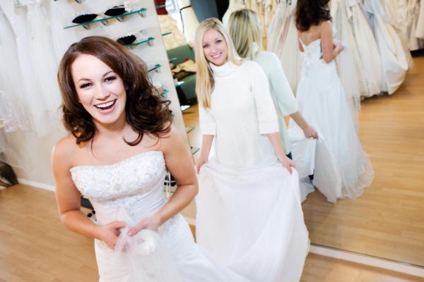 Try On Bridal Wedding Dress Stock Photo 02
