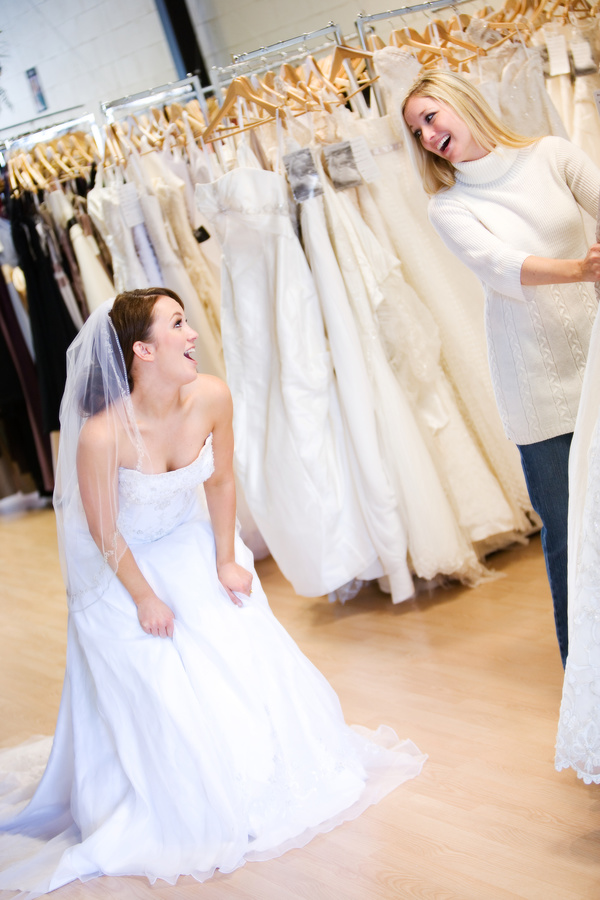 Try on bridal wedding dress Stock Photo 03