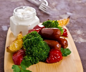 Vegetable sausage on a cutting board Stock Photo 02