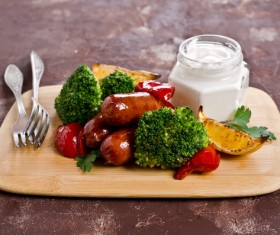 Vegetable sausage on a cutting board Stock Photo 03